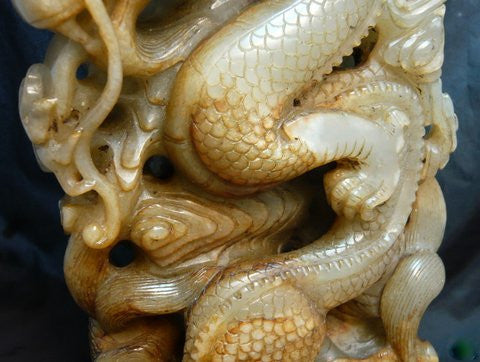 Chinese Carved Celadon Nephrite Jade Dragon Group, early 20th century