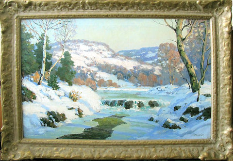"Walter Koeniger (American, 1881-1943), ""The Icy Falls"", oil on canvas, signed"