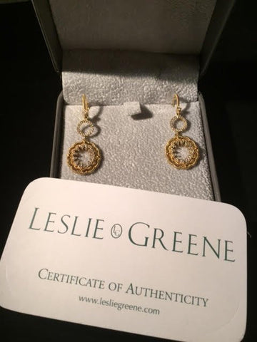"Pair of Leslie Greene 18K White and Yellow Gold and Diamond ""Giuliana"" Ear Pendants, with Certificate of Authenticity"