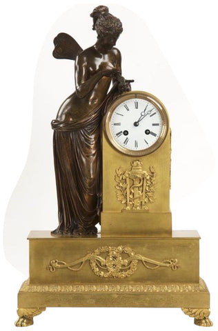 "Napoleon III Gilt and Patinated Bronze Mantel Clock, ""Psyche"", France, ca. 1870"