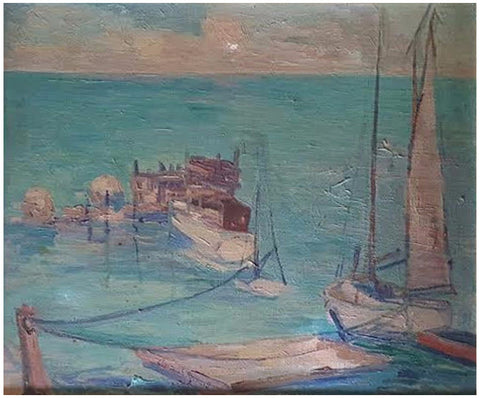 Clarence Erasmus Shepard (American, 1869-1949), Sailboats, oil on board, signed
