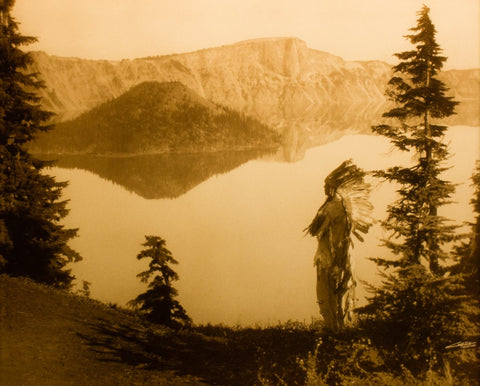 "Edward S. Curtis (American, 1868-1952), ""Crater Lake "", taken 1923, printed 2008, contemporary goldtone/orotone"