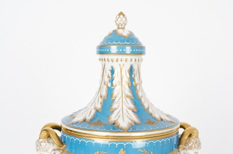 German Porcelain Covered Urn, Dresden, 20th century