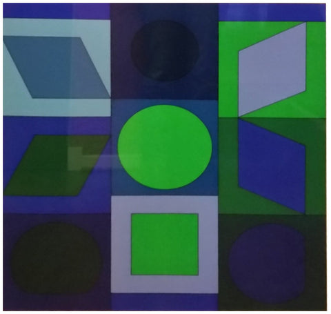"After Victor Vasarely (Hungarian/French, 1906-1997), ""Zafir-BV"", screenprint on semi-cardboard, signed, ed. 150"