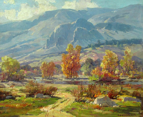 "Jack Wilkinson Smith (American, 1873-1949), ""Autumn Morning - Foothills of the Sierras"", oil on canvas, signed"