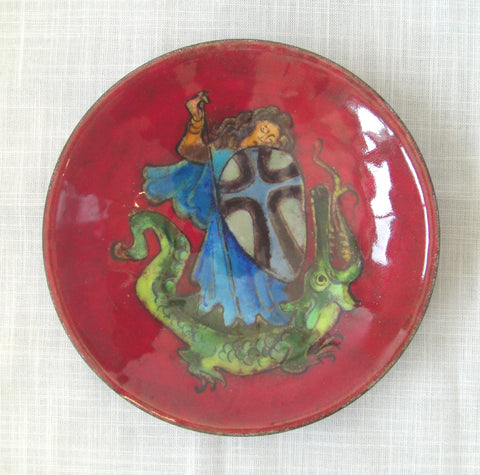 Karl Drerup (American/German, 1904-2000), St. George Slaying the Dragon, enamel on steel bowl