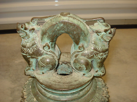 Burmese Bronze Buddhist Temple Bell, Myanmar, early to mid 20th century