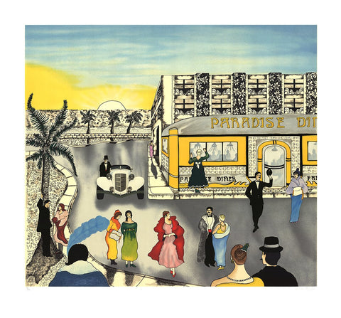 "Linnea Pergola  (American, b. 1953), ""Paradise Diner"", screenprint, signed and numbered"