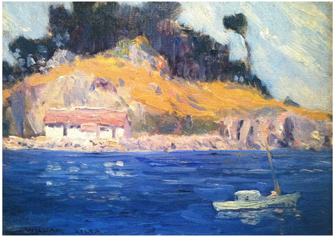 William Posey Silva (American, 1859-1948), Japanese Cove, Point Lobos, oil on canvasboard, signed