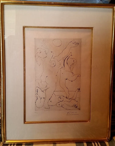 "Pablo Picasso (Spanish, 1881-1973), ""Jeu sur la Plage"", drypoint, 1933, stamp-signed (as issued) and numbered 25/50"