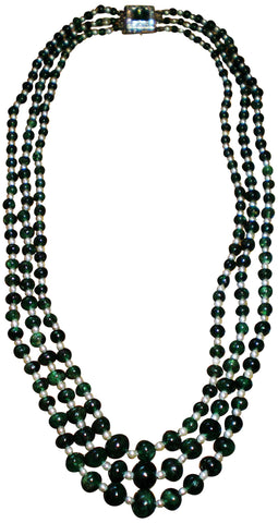 Three Strand Emerald Bead and Pearl Necklace, with 14K White Gold, Diamond and Emerald Clasp