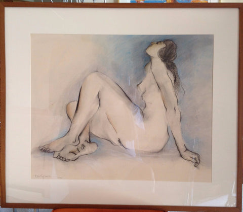 R.C. Gorman (Native American/Navajo, 1931-2005), Blue Nude, 1976, charcoal and pastel on paper, signed
