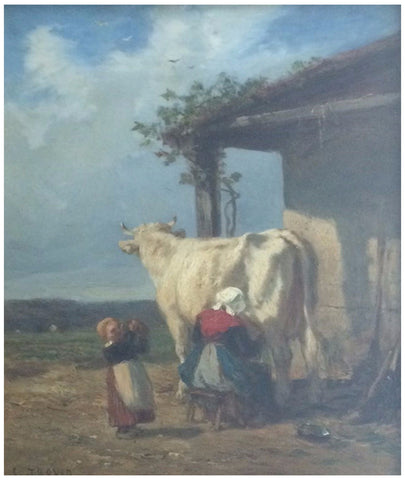 Constant Troyon (French, 1810-1865), Milking time, oil on panel, signed