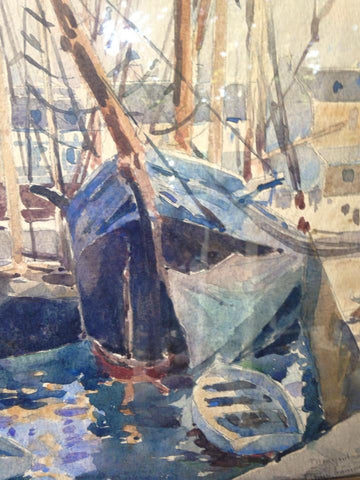 Paul Loys Prudhomme (French, b. 1883-), Harbor Scene, watercolor, signed and dated
