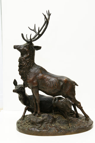 "After Arthur Jacques Leduc (1848-1918), ""Elk Family"", a patinated bronze sculpture, Thiebaut Foundry, ca. 1920"