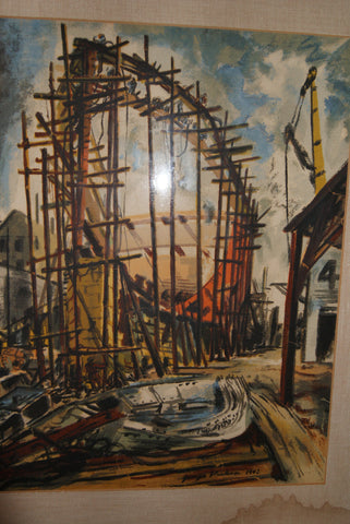 George Alexander Picken (American, 1898-1971), Ship Construction, watercolor on paper, signed and dated 1942