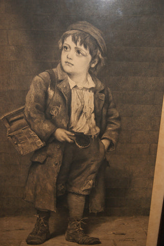John George Brown (American, 1831-1913), A Young Shoeshiner, copper plate engraving, late 19th century