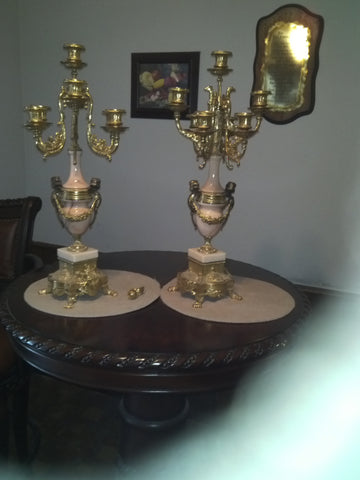 Pair of Italian Gilt Brass Mounted Marble Candelabra, 20th century, in the Rococo Revival Style