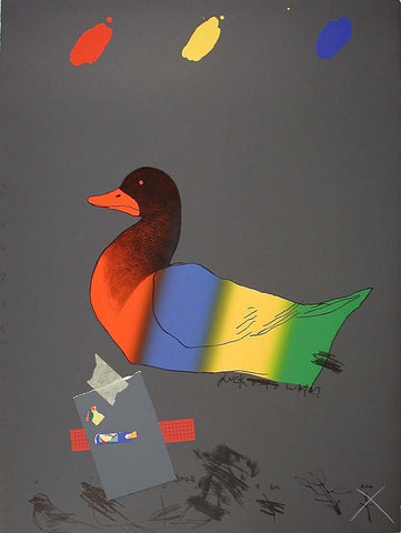 Raymond Saunders (American, b. 1934) Lithograph and screenprint in colors with collage, signed and dated 1976