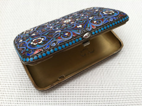 Russian Silver-Gilt and Cloisonne Enamel Cigarette Case, bearing the marks of Gustav Klingert, Moscow, ca. 1894, 84 standard