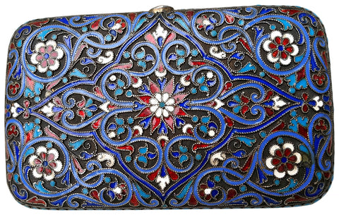 Russian Silver and Cloisonne Enamel Cigarette Case