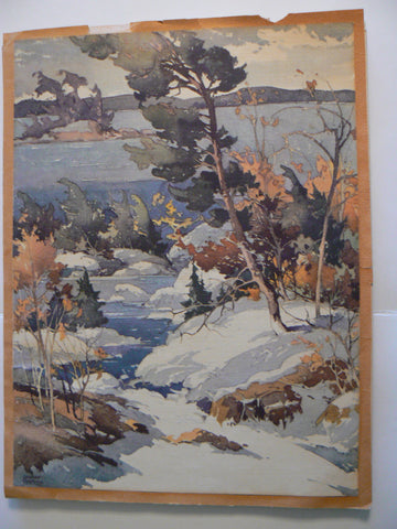William Garnet Hazard (Canadian, 1903-1987), Snowy Landscape, watercolor, signed