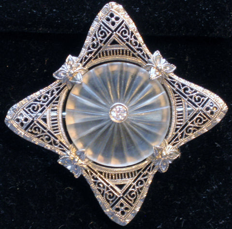Edwardian 14K White Gold Diamond Frosted Crystal Brooch Pin