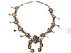 Native American Navajo Natural Coral Squash Blossom Necklace