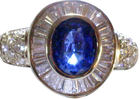 Art Deco Style 18K White Gold, Sapphire and Diamond Ring