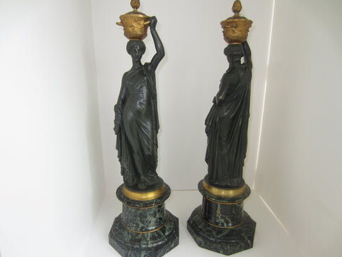 Pair of Napoleon III Bronze Classical Figures after Louis Valentin Elias Robert (French, 1821-1871)