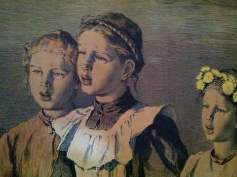 After Berthold Genzmer (German, 1858-1927), chromolithograph on paper, Three Young Girls, late 19th century