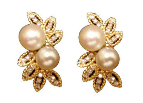 18K Yellow Gold, Pearl and Diamond Earrings, 20th century