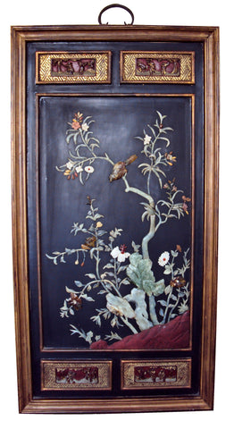Chinese Jade and Hardstone Inlaid Enameled Lacquer Panel