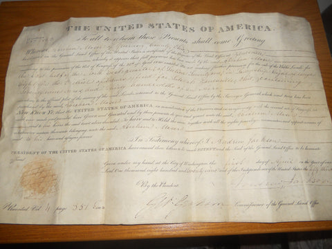 Zanesville, Ohio Land Deed signed by Andrew Jackson, ca. 1820, co-signed by George Graham, for sale of public land
