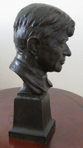 "Electra Waggoner Biggs (American, 1912-2001), ""Will Rogers"", 1942, patinated bronze portrait bust, signed and dated"