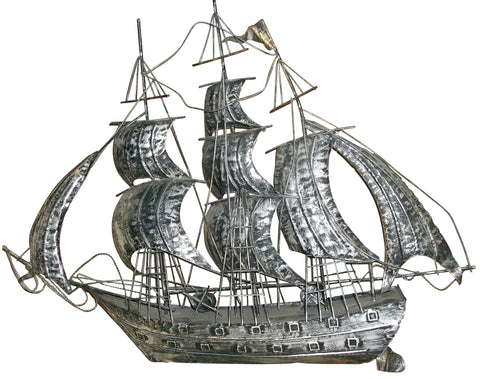"Silver Plated Model of a Sailing Ship or ""Nef"""