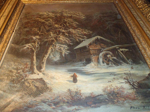 Paul Ritter (German, 1829-1907,) A Snowy Winter Scene, oil on canvas, signed