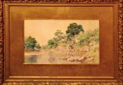 Paul Sawyier (American, 1865-1917), Landscape of a House with Well and Pond, watercolor on paper, signed lower right