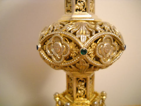Continental Gothic Style Silver-Gilt and Jeweled Chalice and Silver-Gilt Paten, late 19th century