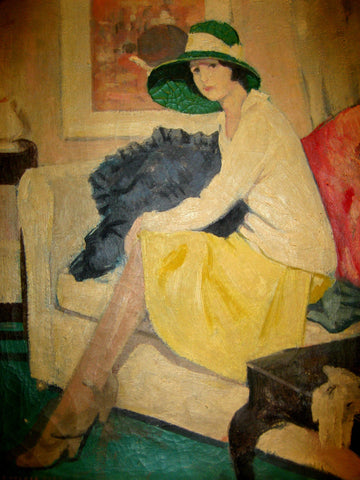George Telfer Bear (British, 1874-1973), Woman in a Green Hat Sitting on a Sofa, oil on canvas, signed lower left