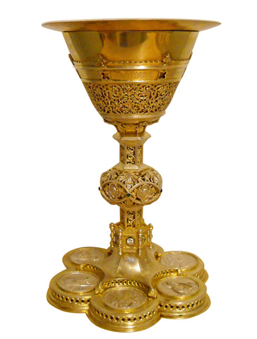 Continental Gothic Style Silver-Gilt and Jeweled Chalice