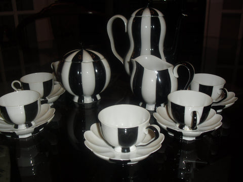 Austrian Porcelain Mocha Coffee Service, designed by Josef Hoffmann (1870-1956), Vienna, early 20th century