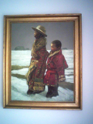 "Zheng Zhiyue (Chinese, b. 1957), ""Two Boys Walking in a Snowy Landscape"", oil on canvas, signed lower right"