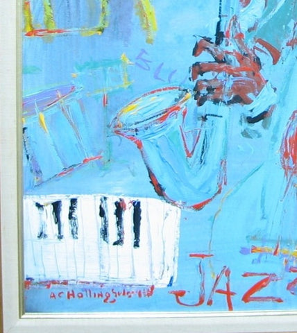 "Alvin Carl Hollingsworth (American, 1928-2000), ""Jazz,"" oil on board, signed, 20th century"