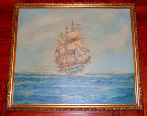 After Charles Watson (American, Late 19th/Early 20th century), The Charles W. Morgan Whaling Ship, oil on canvas, ca. 1900