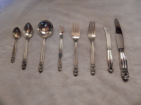 Georg Jensen Silver Flatware Service, Copenhagen, Denmark, mid-20th century, in the Acorn pattern