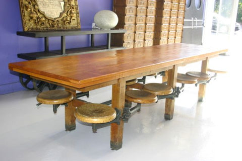 Maple Cafeteria Table with Twelve Swing Seats, ca. 1920, with cast iron mounts