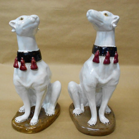 Pair of Italian Majolica Models of Seated Greyhounds, 20th Century
