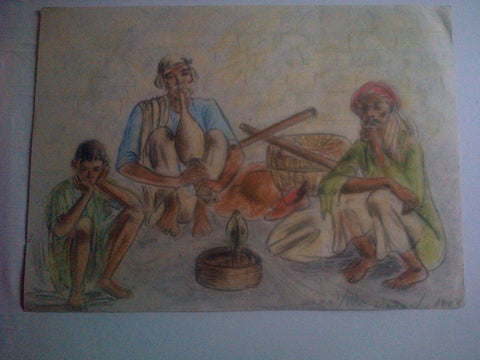 Anna Molka Ahmed (Pakistani, 1917-1994), Snakecharmer Scene, colored pencil on paper, signed and dated 1942