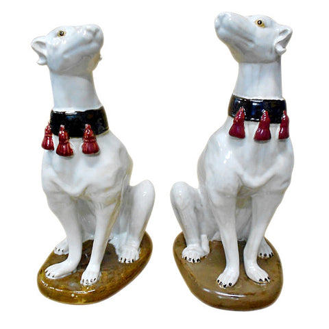 Pair of Italian Majolica Models of Seated Greyhounds